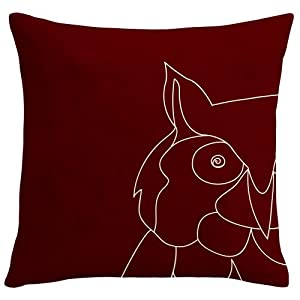 "Owl-Wine 18"" x 18"" Burgundy/Deep Red Decorative Pillow cover"