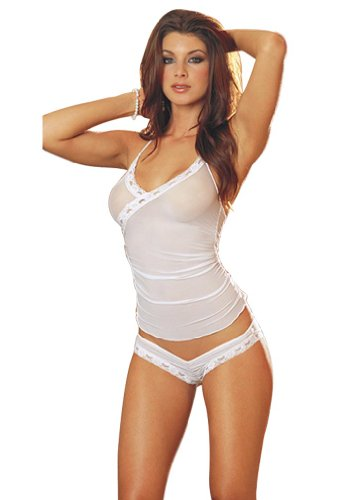 Amour-Sexy Lingerie White Mesh Sheer Camisole Top + Thong Set Honeymoon
