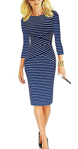 REPHYLLIS-Women-34-Sleeve-Striped-Wear-to-Work-Pencil-Dress-US-SIZE