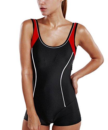 Delimira Damen Einteiler Badeanzug - Schlankheit Hotpants Bademode  Schwimmanzug 229e4add8c
