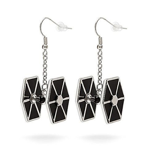 Licensed Star Wars Stainless Steel Tie Fighter Dangle Earrings