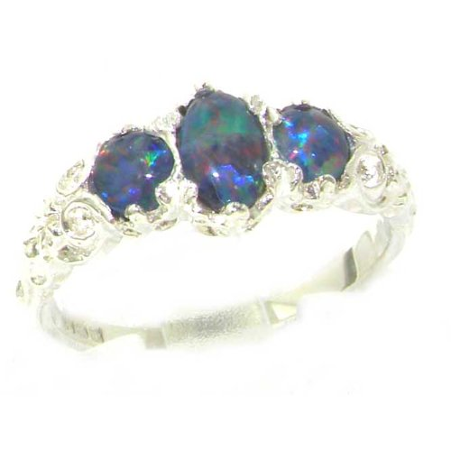 Luxury Sterling Silver Womens Opal Trilogy Ring - Size 12 - Finger Sizes 5 to 12 Available - Suitable as an Anniversary ring, Engagement ring, Eternity ring, or Promise ring