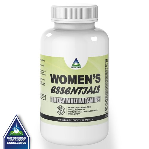 Women'S Essential 1 A Day Multivitamins - Rich In Iron, Calcium, Zinc With 1000 I.U. Vitamin D3. 100 Tablets Wheat And Gluten Free
