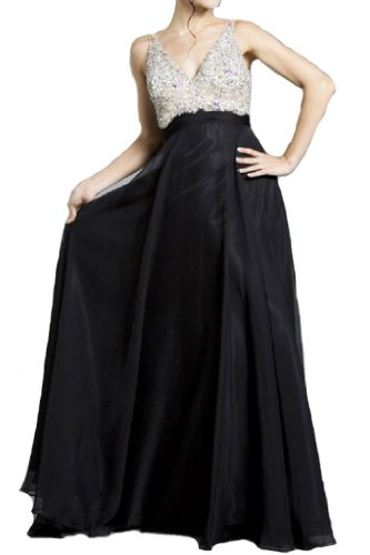 Meier Women's Rhinestone A Line Formal Chiffon Prom Dress Black 16
