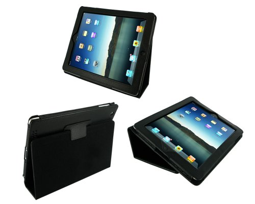 rooCASE Dual Station Premium Leather (Black) Case Cover with Stand for Apple iPad 2 Wifi / 3G Model 16GB, 32GB, 64GB