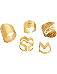 House Of Accessories Summer Gold Metal Rings For Women, Pack Of 5, Size: Free Size (H-10057)