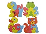 Childrens Kids Wooden Animal Shape Dog, Cat ,Frog & Duck Puzzle 12 Months+