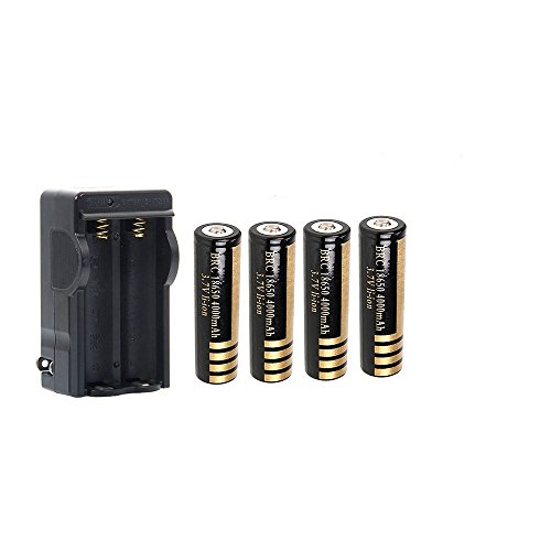 FIXED Star 4Pcs 3.7V 18650 4000mah Protected Rechargeable Lithium Battery + 1pcs 18650 Wireless Charger battery forLED Flashlight Lamp Torch Lighting (Protected Lithium Battery compare prices)