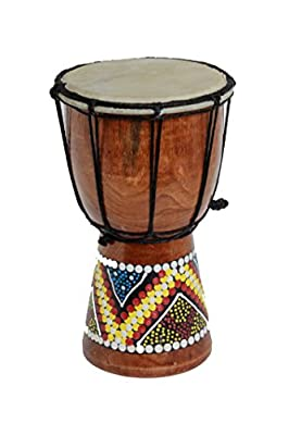 30cm Djembe Drum with Hand Painted Design - West African Bongo Drum