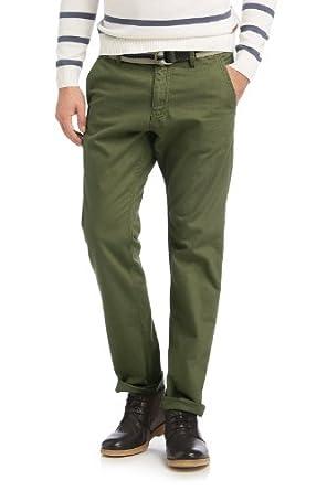 ESPRIT Herren Chino Hose mit Gürtel, Gr. 46/L32 (Herstellergröße: 31 32), Grün (HAY GREEN)
