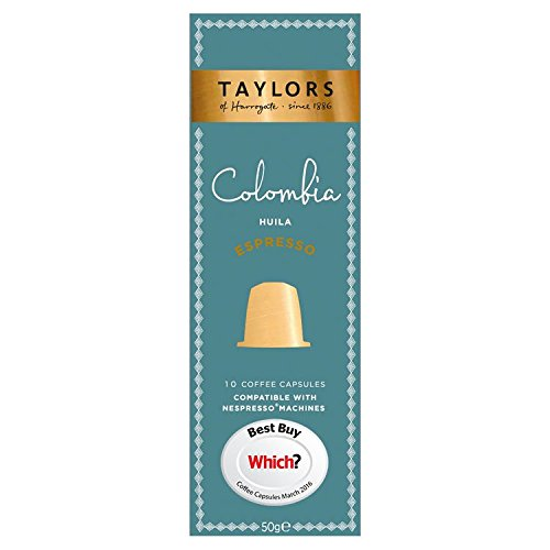 Taylors of Harrogate Espresso Coffee Capsules Nespresso Compatible Colombia Huila (Pack of 6, Total 60 Capsules)