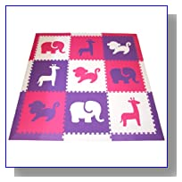 SoftTiles Safari Animals Interlocking Foam Play Mat w/sloped borders (Purple, Pink, White) Jumbo Play Mat 78