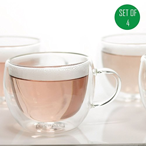Universe Double Wall Glass Tea & Coffee Espresso Cup Glasses, Set of 4 - 230ml / 8oz (4) (Double Wall Cup compare prices)