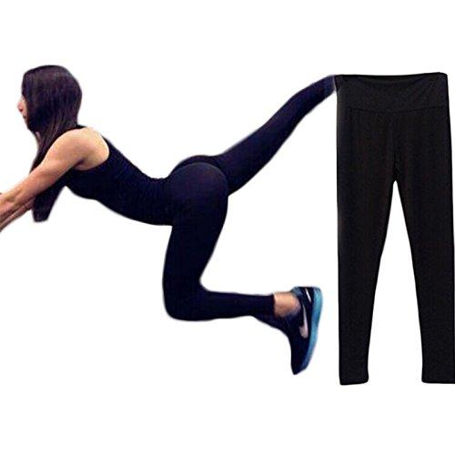 Hjuns Yoga-Pantaloni da corsa, da donna, vita alta, Leggings, Pantaloni Fitness nero Taglia unica