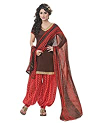 Inddus Women Blue & Red Cotton Satin Unstitched Dress Material