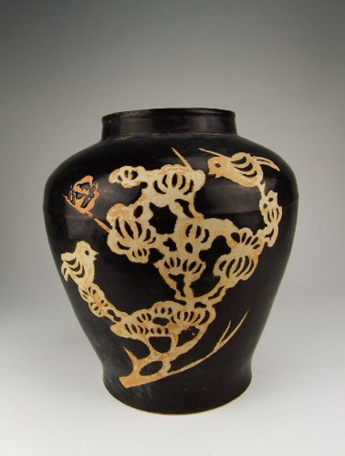 one Jizhou Ware Black Glaze Porcelain Pot With Flower&Bird Pattern, Chinese Antique Porcelain, Pottery, Bronze, Jade, and Paintings in Dynasty Antique