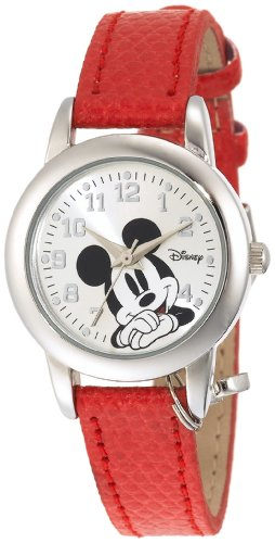 Disney Women's MK1042 Mickey Mouse Red Lizard Strap with Charm Watch