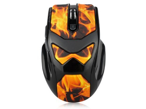 Brand New Dealheroes 2.4G Wireless Pc Game Mouse Flame Print 6 Buttons