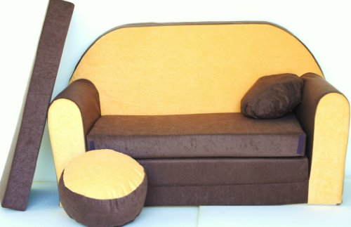 KIDS SOFA BED FUTON CHILDS FURNITURE+FREE POUFFE/FOOTSTOOL & PILLOW (K1)