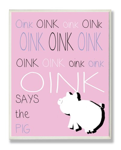 The Kids Room by Stupell Oink Oink Pig Silouhette on Pink Background Rectangle Wall Plaque