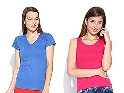 Happy Hippie Women's Combo T-shirt Blue-DarkPink