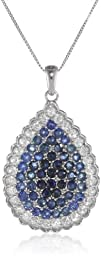 14k White Gold Shades of Blue Sapphir…