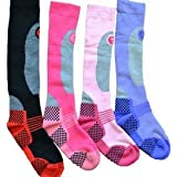 4 Pairs - HIGH PERFORMANCE ladies ski socks - long hose thermal socks - Size UK 4-7 (EUR 35-41)