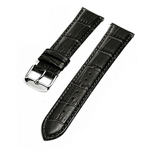 イタリア製レザー 本革 時計用 ベルト ワンタッチで装着簡単 バネ棒加工付き (ブラック, 18mm)