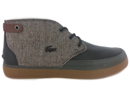 Men's Lacoste Clavel 13 SRM Leather Canvas Black Grey 7 26SRM4220248 Casual Shoe (MEN SIZE 11.5, Black Grey)