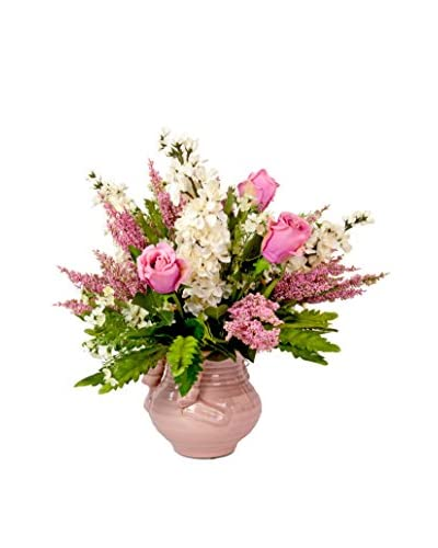 Creative Displays Inc. Mixed Rose and Delphinium Flower Pot, Pink/White