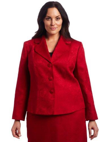 Lesuit Women's Plus-Size Paisley Jacquard Skirt Suit