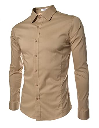 (STL) TheLees Mens casual slim fit basic dress shirts Beige Medium(US Small)
