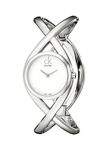 Calvin Klein K2L23120 - Reloj analógico de mujer de cuarzo con correa de acero inoxidable plateada