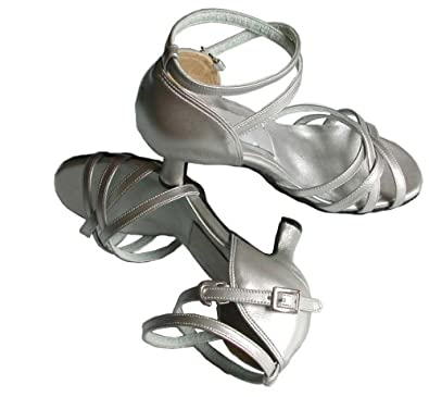 Minitoo GYMZA0090 Women's Salsa Tango Ballroom Latin Silver 2.5 Inch Heel Ankle Strap Dance Shoes Sandal 4 M US