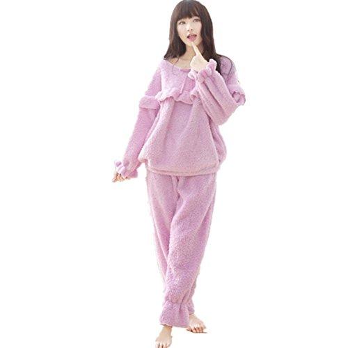 dmmss-korallen-leece-damen-pyjamas-rundhals-langarm-volant-pyjama-set-purple-m