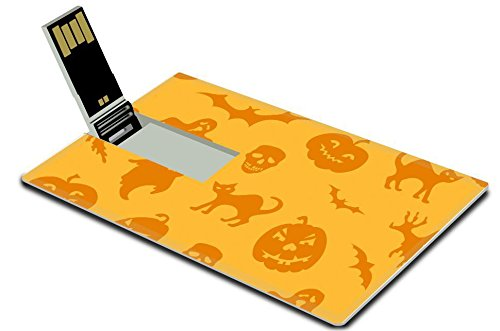 [Liili 8GB USB Flash Drive 2.0 Memory Stick Credit Card Size IMAGE ID: 15704758 Halloween seamless pattern with pumpkin ghost] (Cute Halloween Ghosts Clipart)