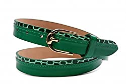 Just Women Layered Leaf Green Skinny Belt