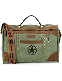 The House Of Tara Distress Finish Studded Duffle Bag (Hedge Green)