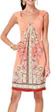 London Times Gathered Front Batik Print Dress