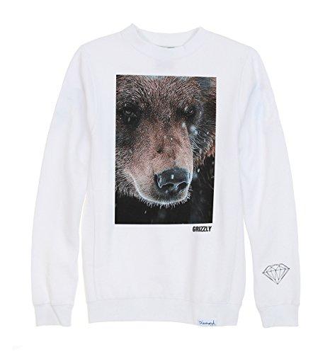 Diamond Supply Co. Men's Grizzled Fleece Crewneck Sweatshirt-White-3XL (Mens Diamond Supply Co Sweatshirt compare prices)