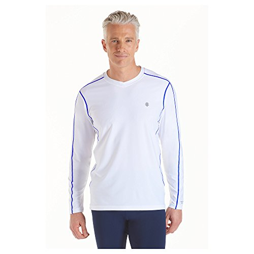 Coolibar upf 50 men 39 s long sleeve aqua t shirt uv for Mens long sleeve uv protection shirt