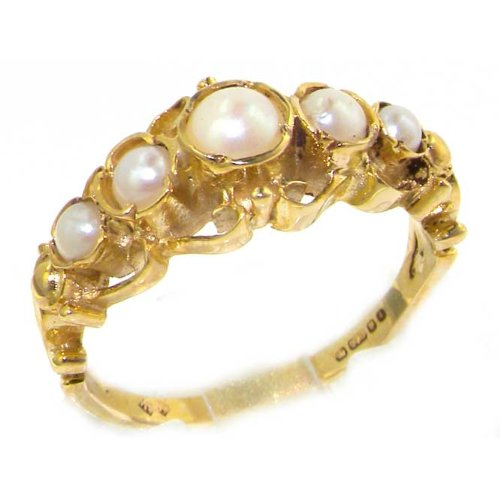 Solid 14K Yellow Gold Genuine Natural Pearl Ring of English Georgian Design - Size 9.75 - Finger Sizes 5 to 12 Available - Perfect Gift for Birthday, Christmas, Valentines Day, Mothers Day, Mom, Mother, Grandmother, Daughter, Graduation, Bridesmaid.