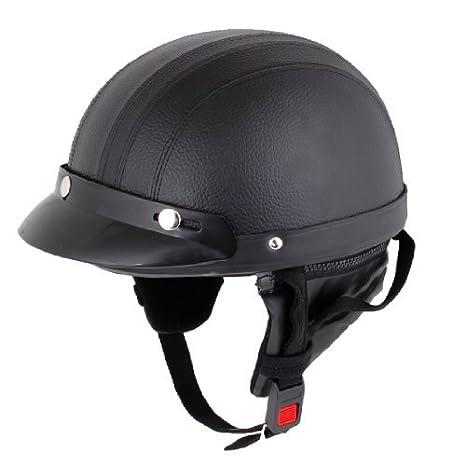 Noir Faux Cuir Couverts Moto Crâne Bouchon Casque Demi-jet w. Scoop Visière