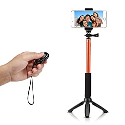 Accmor Pro Selfie Stick Extendable Handheld with Mini Tripod Stand with Bluetooth Remote Shutter for Smartphones, Orange