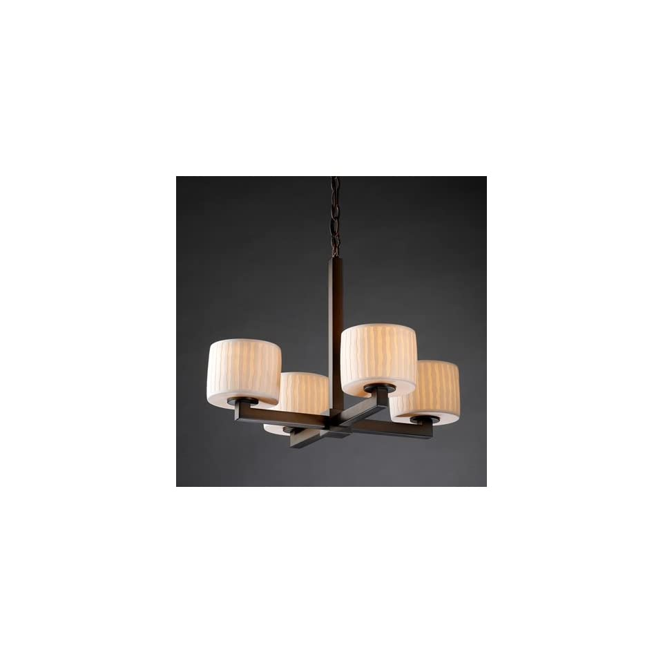 Justice Design Group POR 8829 45 WFAL DBRZ Limoges 4 Light Chandeliers