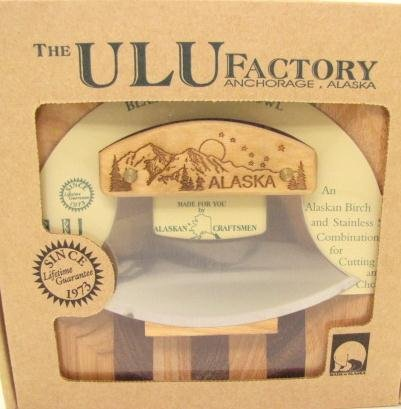 Ulu Factory Alaska Ulu Birch Walnut Stripe Wood Chopping Bowl-Board Mountain Dipper Design Handle