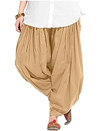 Fashion Guru Trading Beige Cotton Semi Patiala Salwar For Women (Size - Free)