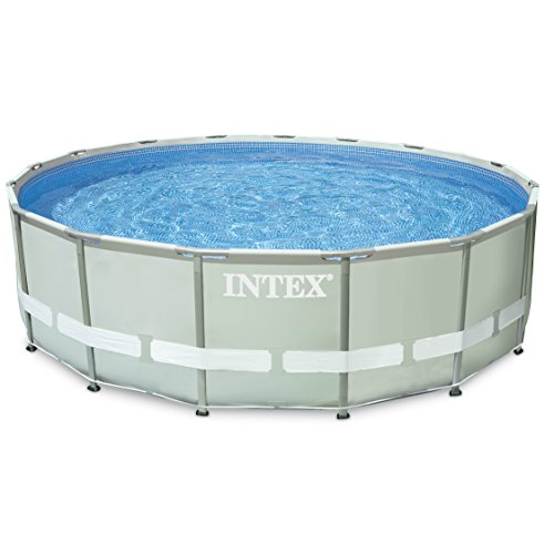 "Intex Ultra Frame Pool Set with Cartridge Filter Pump, 16 x 48"", Gray"
