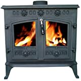 FoxHunter Cast Iron Log Wood Burner Stove JA006 12KW Multifuel Fire Place