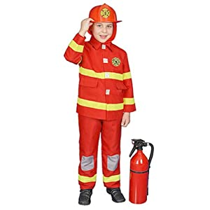 Boy Fire Fighter Costume - Red - Size Toddler T2